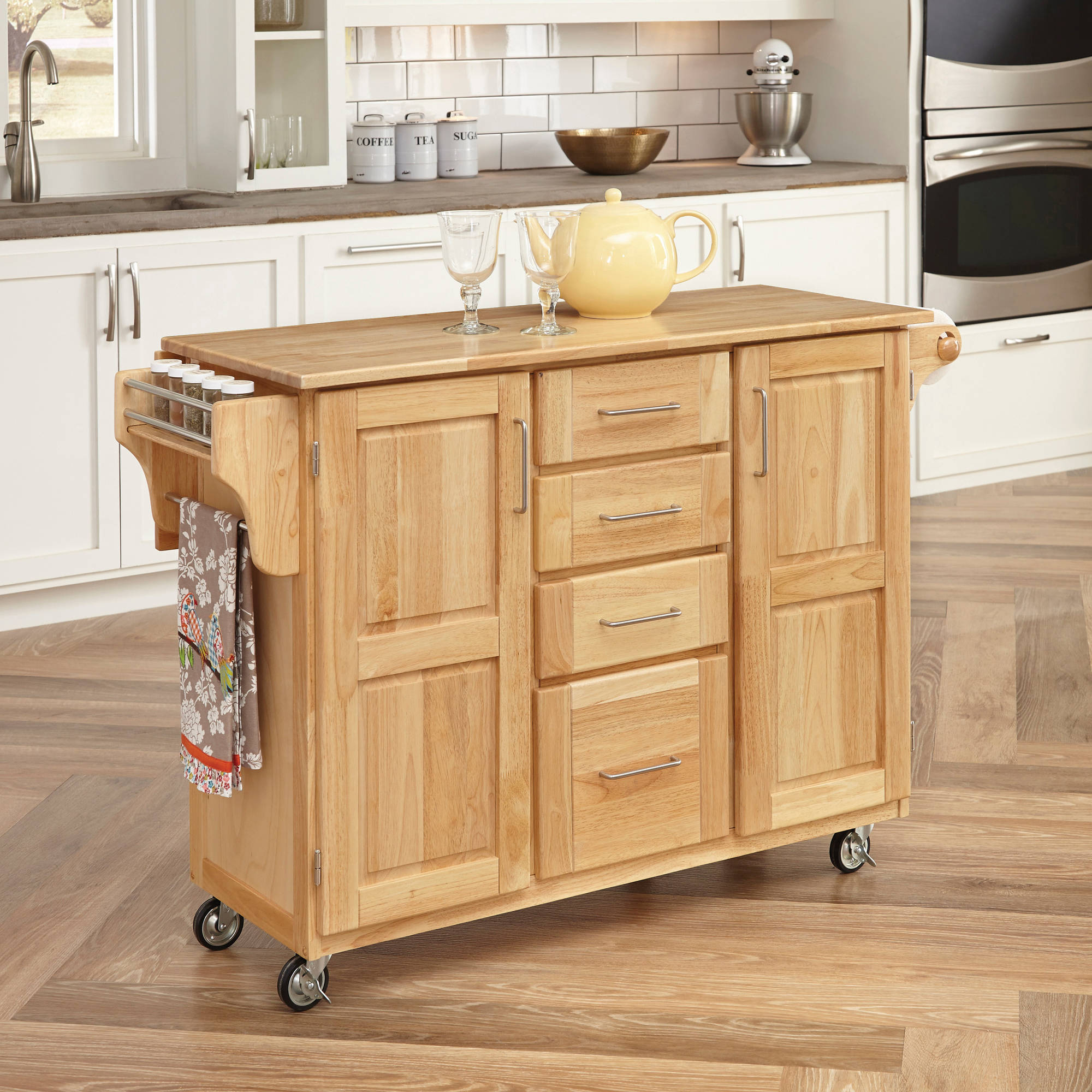 Natural Breakfast Bar Kitchen Cart with Wood Top