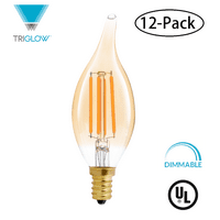 TriGlow (12-Pack) LED 4.5 Watt (40W Equivalent), Flame Tip Amber Glass, DIMMABLE 2200K Color, 350 Lumens, E12 Candelabra Base LED Light Bulbs
