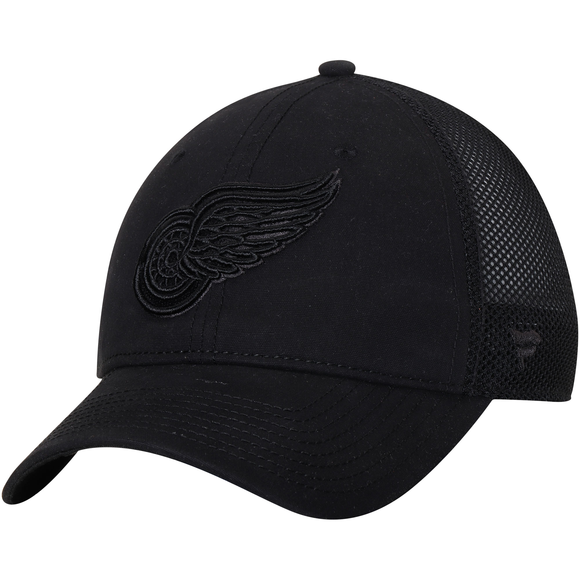 19a66a2f80215 ... sale mens fanatics branded black detroit red wings indestructible  blackout trucker adjustable snapback hat osfa b2ad7