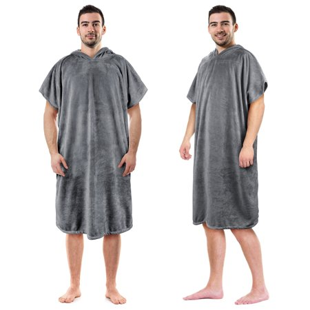 Hooded Poncho Towels Changing Robe for Adult Surfer Swimmer Outdoor Beach By - Swimmers Towel