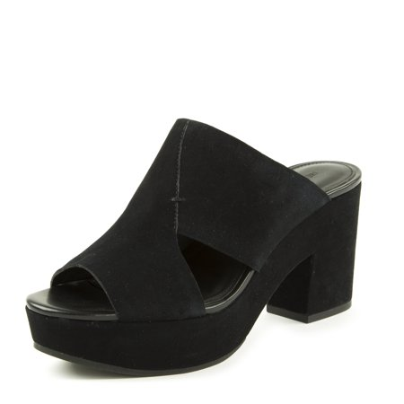 Rebecca Minkoff Women's Jordan Suede Cutout Platform Clogs US 9 Black (Infant Girl Jordan Crib Shoes)