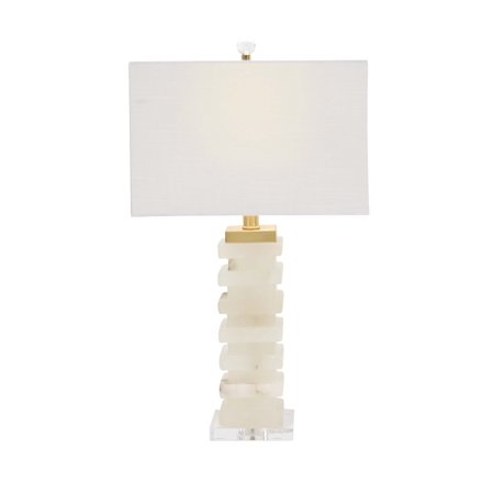 Acrylic Modern Table Lamp - Decmode 25 Inch Modern White Carved Marble and Acrylic Table Lamp, White