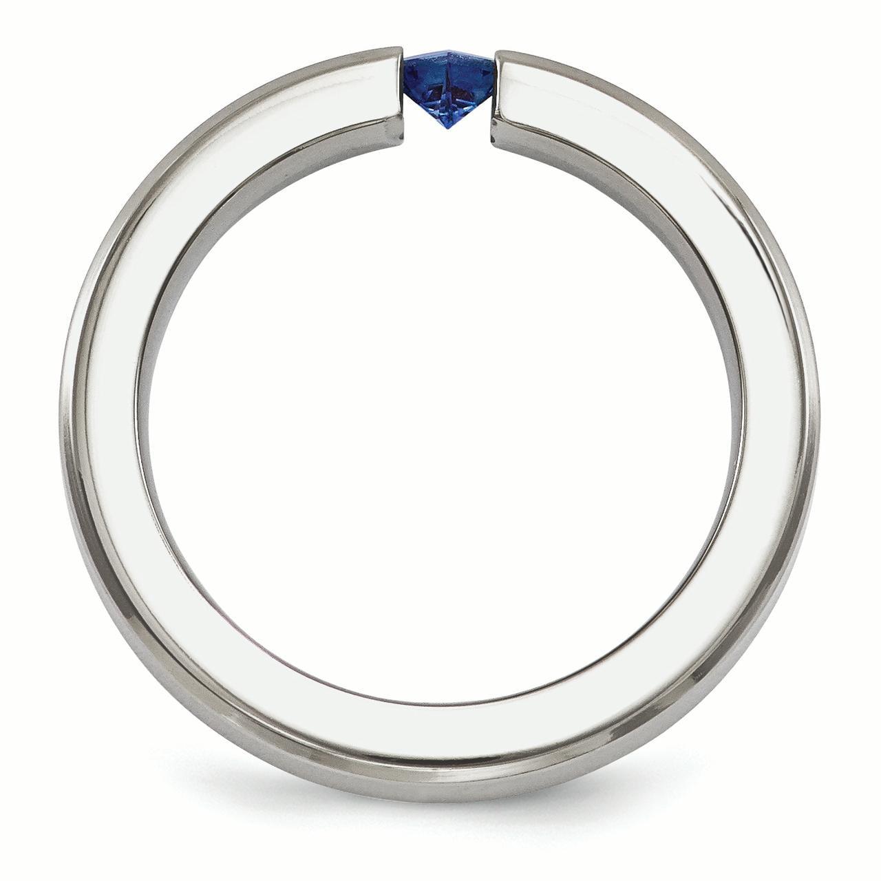 Bridal Wedding Bands Decorative Bands Edward Mirell Titanium Brushed Sapphire 4mm Band Size 9