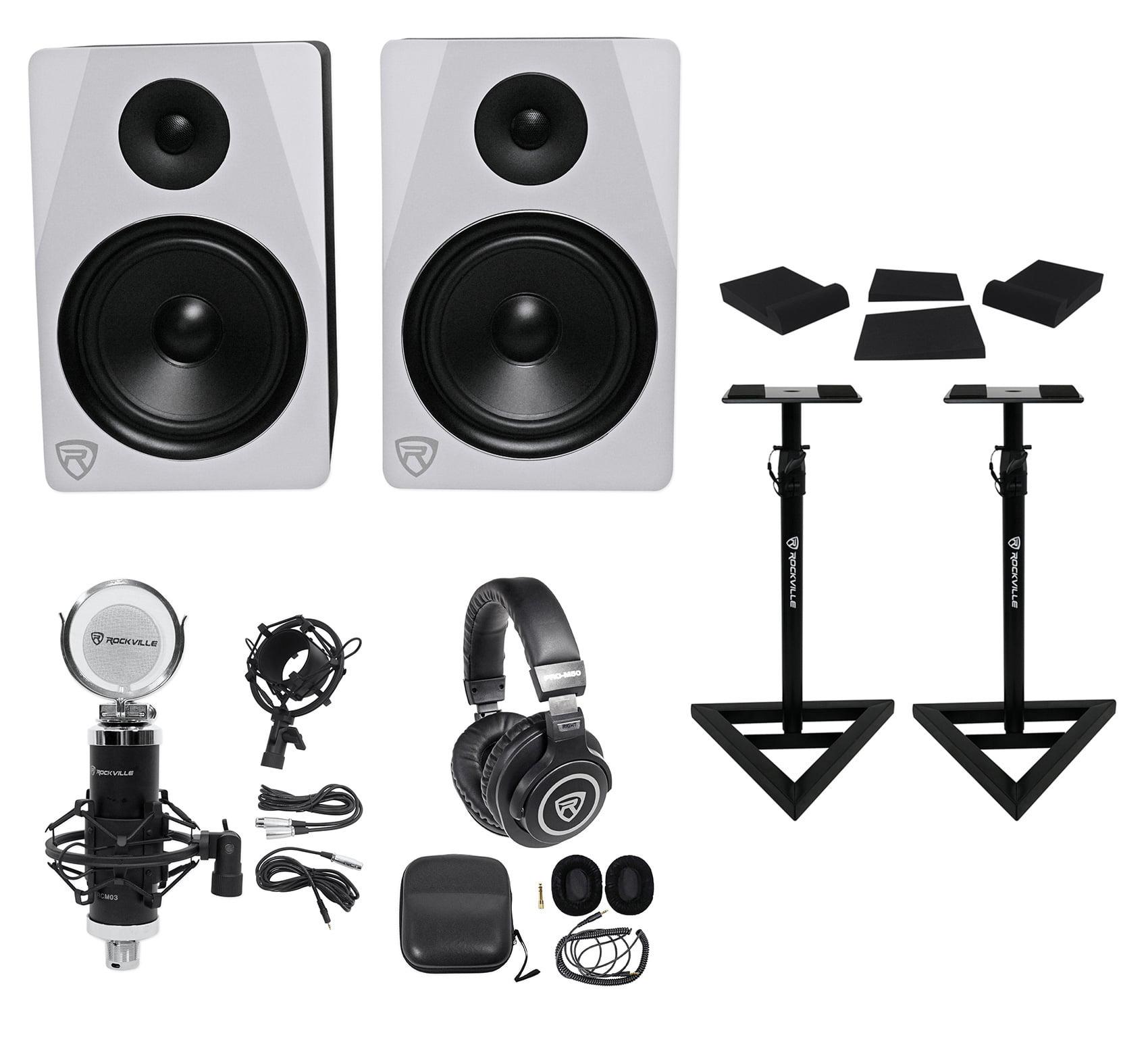 "2) Rockville APM8W 8"" 500w Powered Studio Monitors+Stands+Pads+Headphones+Mic by ROCKVILLE"