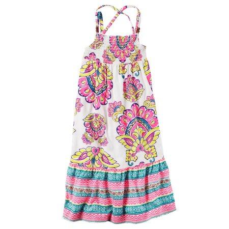 Carter's Big Girls' Smocked Paisley Maxi Dress, 7 Kids - Kids Maxi Dress