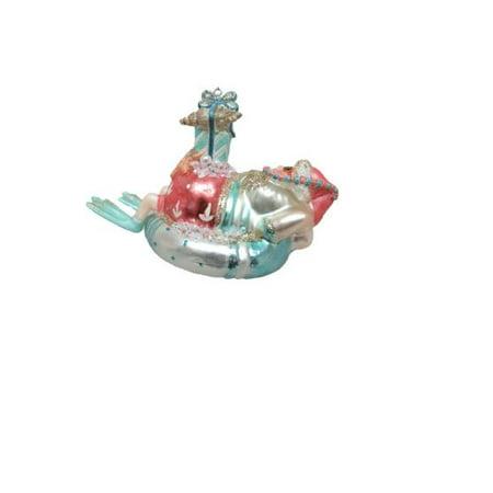 December Diamonds Santa Claus on Raft Christmas Tree Ornament Beach Décor (Raft Ornament)