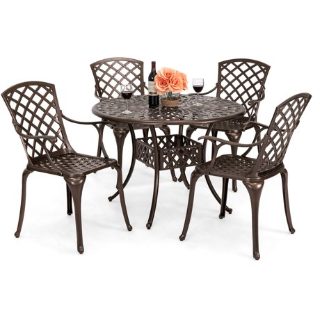 Best Choice Products 5-Piece All-Weather Cast Aluminum Patio Dining Set w/ 4 Chairs, Umbrella Hole, and Lattice Weave Design, Brown ()
