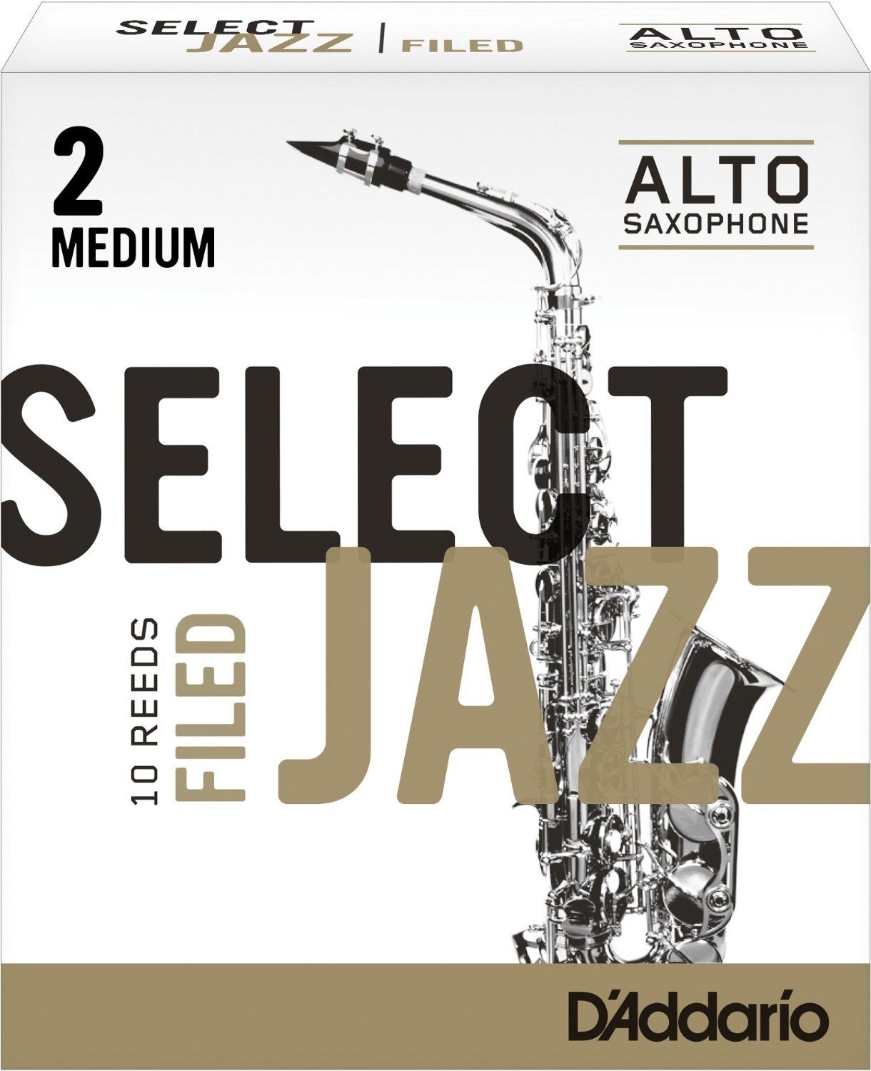 Daddario Jazz Select Filed Eb Alto Sax Reeds, 10CT, 2 M Strength by Rico