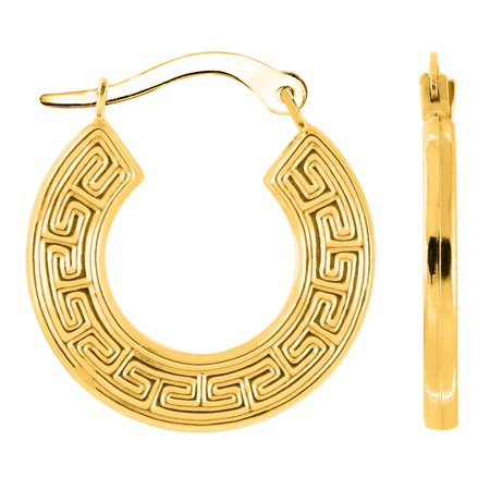 - 10k Yellow Gold Greek Key Pattern Round Hoop Earrings , Diameter 18mm