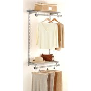 """Rubbermaid Fg3H9200Titnm 48"""" Configurations Add-On Shelving and Hanging Clothes Kit, Titanium"""