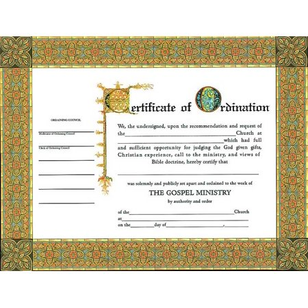 Certificate-Ordination-Minister (4 Color) (8-1/2\