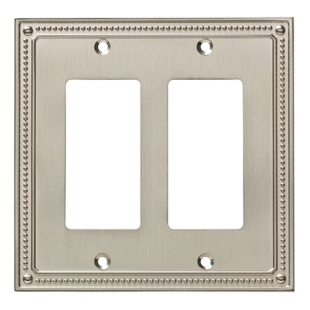 Franklin Brass Classic Beaded Double Decorator Wall Plate in Satin Nickel