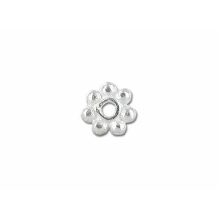 SSF-101-5MM Silver Overlay Daisy Bead Spacer Without Oxidised Bali Vermeil Spacer Beads