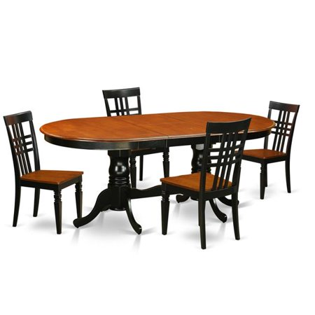 Kitchen Table Set with One Plainville Table & Four Chairs, Black & Cherry -  5 Piece