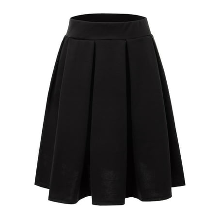 Doublju Women's Elastic Waist Flare Pleated Skater Midi Skirt BLACK S (Pleats V-neck Skirt)