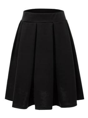 11fc7115bd57e Product Image Doublju Women s Elastic Waist Flare Pleated Skater Midi Skirt  BLACK S