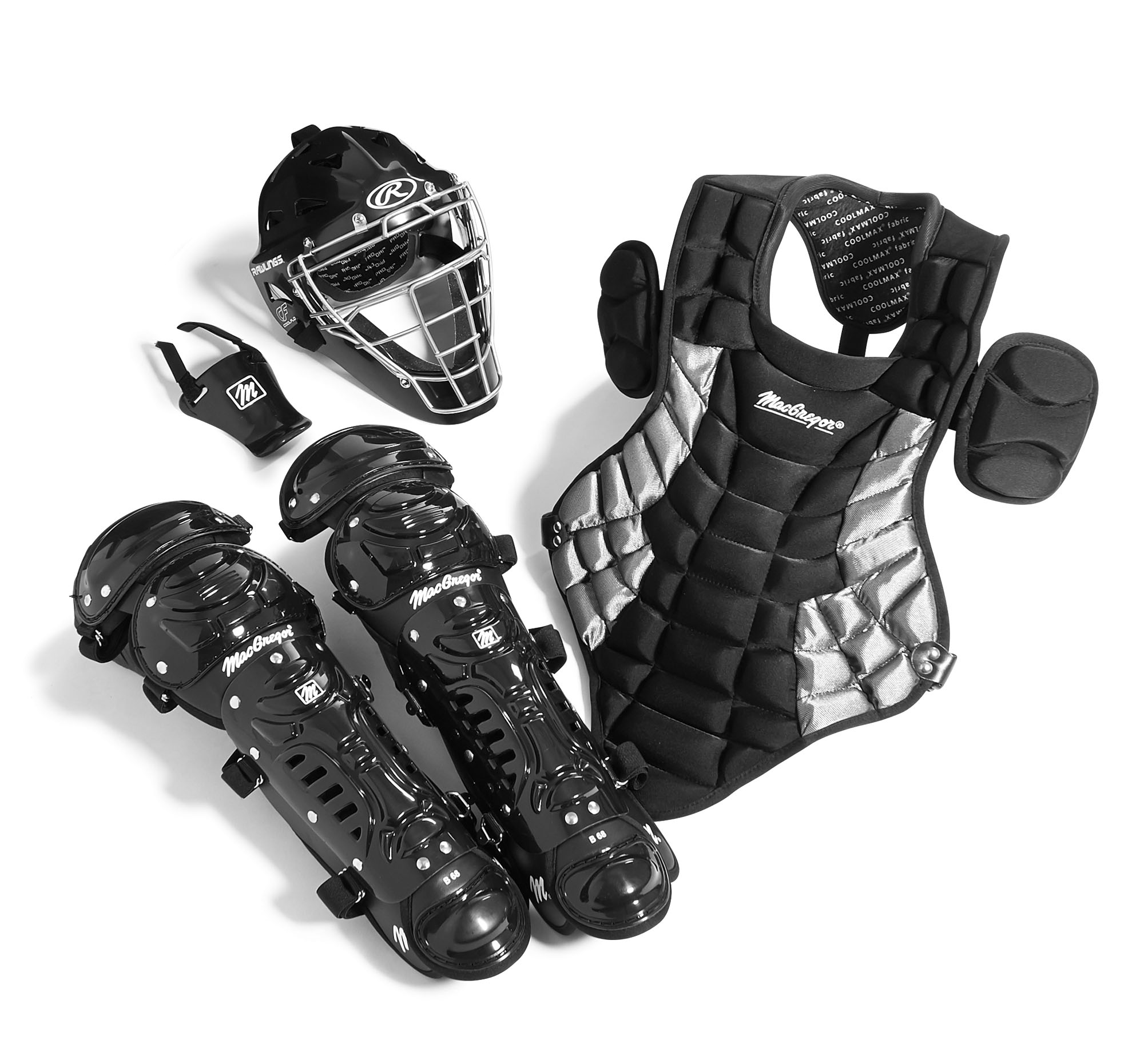 Junior Catcher's Gear Pack in Black Silver (Ages 5-8) by BSN Sports