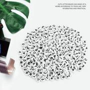 Kritne Alphabet Beads, DIY Letter Beads, 500Pcs Round Acrylic Single Letter Beads A-Z White Beads DIY Bracelet Necklace Accessories