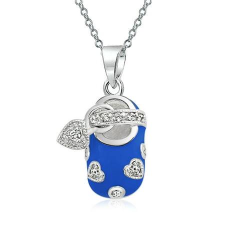 Cubic Zirconia Enamel Heart (Baby Shoe Charm Pendant Necklace For New Mother Women Blue Enamel Cubic Zirconia CZ Heart Engravable 925 Sterling Silver)