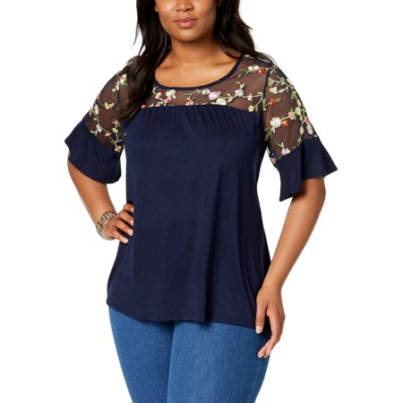 NY Collection Womens Plus Embroidered Floral Pattern Blouse (Floral Patterns Embroidery)