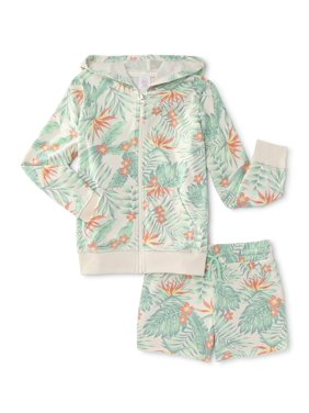Wonder Nation Girls 4-18 & Plus Zip Up Terry Hoodie and Short, 2-Piece Outfit Set