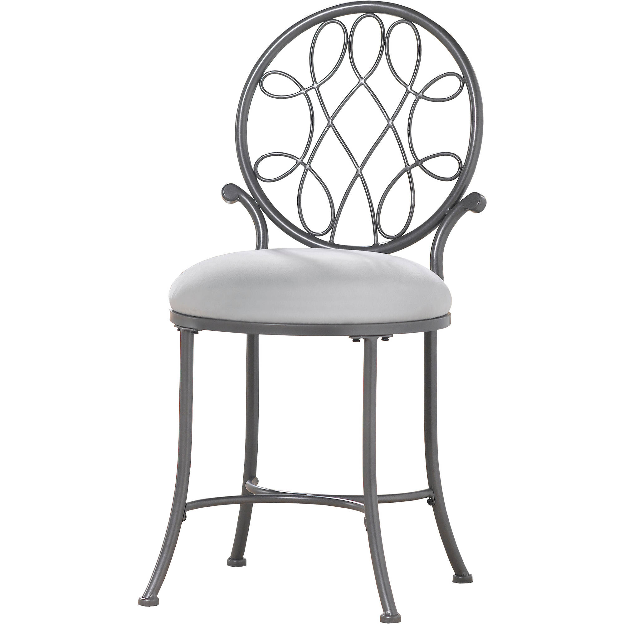 Metal Vanity Stool Gray Decorative Knot Motif Padded Seat Bedroom Bathroom Chair