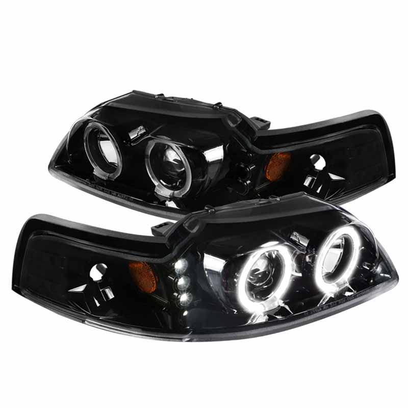 spec d tuning for 1999 2004 ford mustang led dual halo projector jet black headlights pair left right 1999 2000 2001 2002 2003 2004 walmart com walmart com walmart com