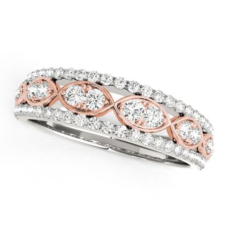 14K White And Rose Gold Doulbe Diamond Infinity Design Band (3/8 ct. tw.) Size - 5