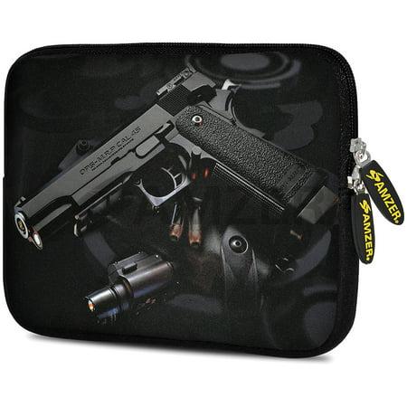 Universal 7.75 Inch Soft Neoprene Sleeve Case Pouch for Tablet, eBook, Kindle - Black Pistol