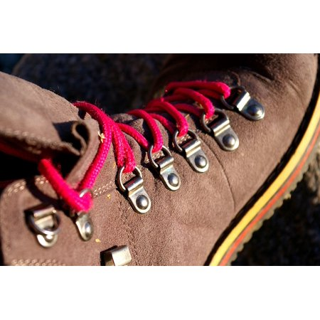 Trekking Hand Art - Framed Art for Your Wall Eyelets Shoelace Hiking Shoes Shoe Sole Trekking 10x13 Frame