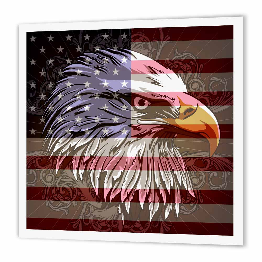 3dRose Ornate Patriotic Bald Eagle and USA American Flag Pride Great for Fourth Of July Independence Day, Iron On Heat Transfer, 10 by 10-inch, For White Material