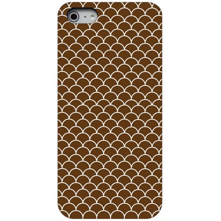 Brown Scalloped (CUSTOM Black Hard Plastic Snap-On Case for Apple iPhone 5 / 5S / SE - Brown White Scalloped Pattern )