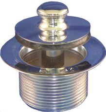 Ips Push-Pull Bathtub Stopper, 1-1/2 In., 1-1/2 In. Coarse Thread, Polished Chrome