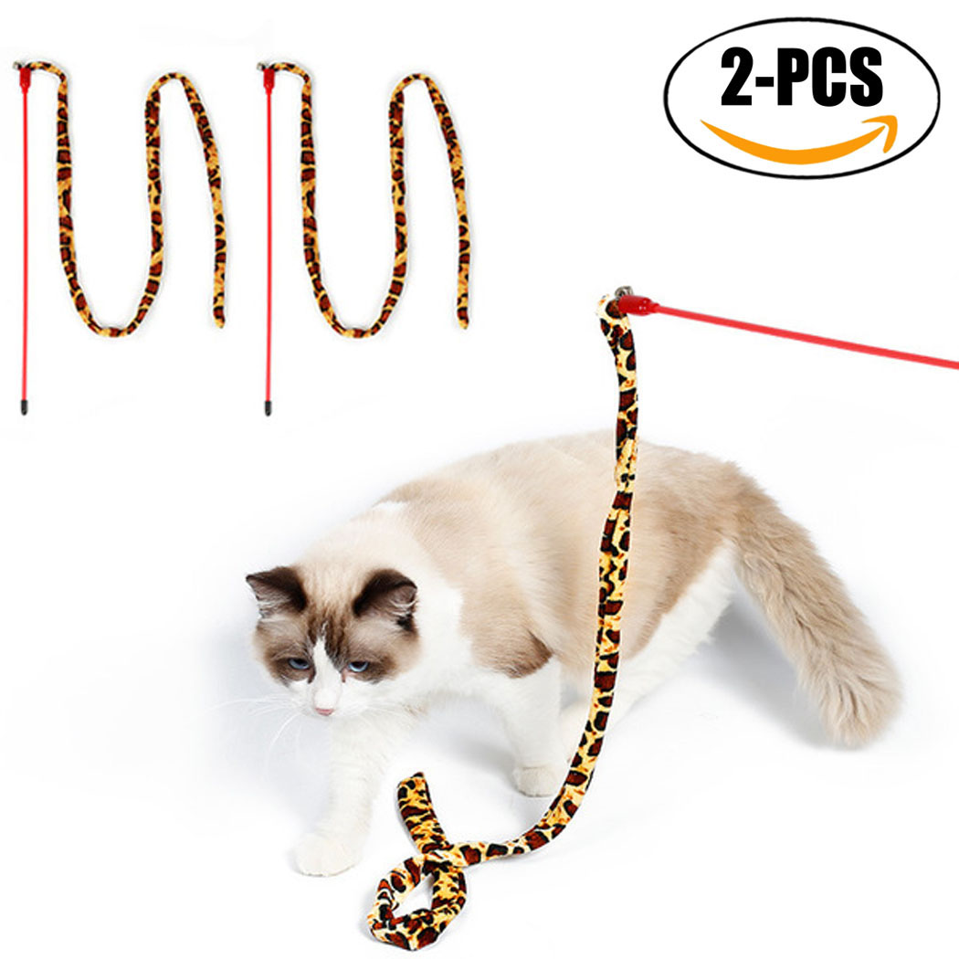 2Pcs Cat Teasers, Legendog Interactive Training Cat Wands Cat Toys Cat Stick Toys with Bell for Cat Kitten by Legendog