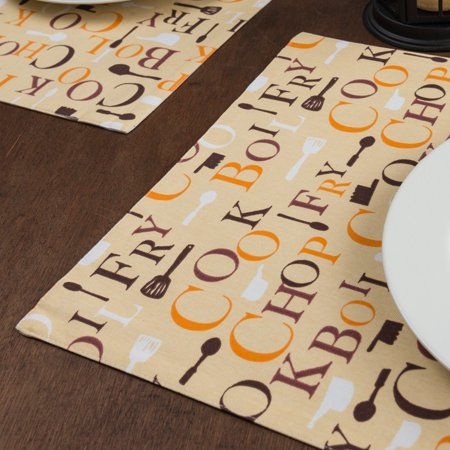 Autumn Chef Print Placemats 4/Pack, Placemats measure 13 x 19 in By LinenTablecloth ()