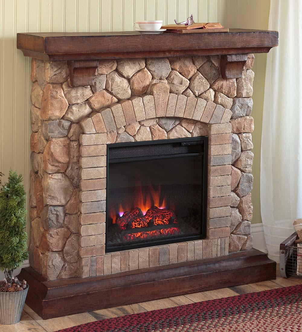 Stacked Stone Electric Fireplace Heater Ventless