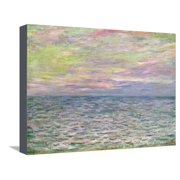 On the High Seas, Sunset at Pourville; Coucher De Soleil a Pourville, Pleine Mer, 1882 Impressionism Coastal Seascape Ocean Landscape Art Stretched Canvas Print Wall Art By Claude Monet