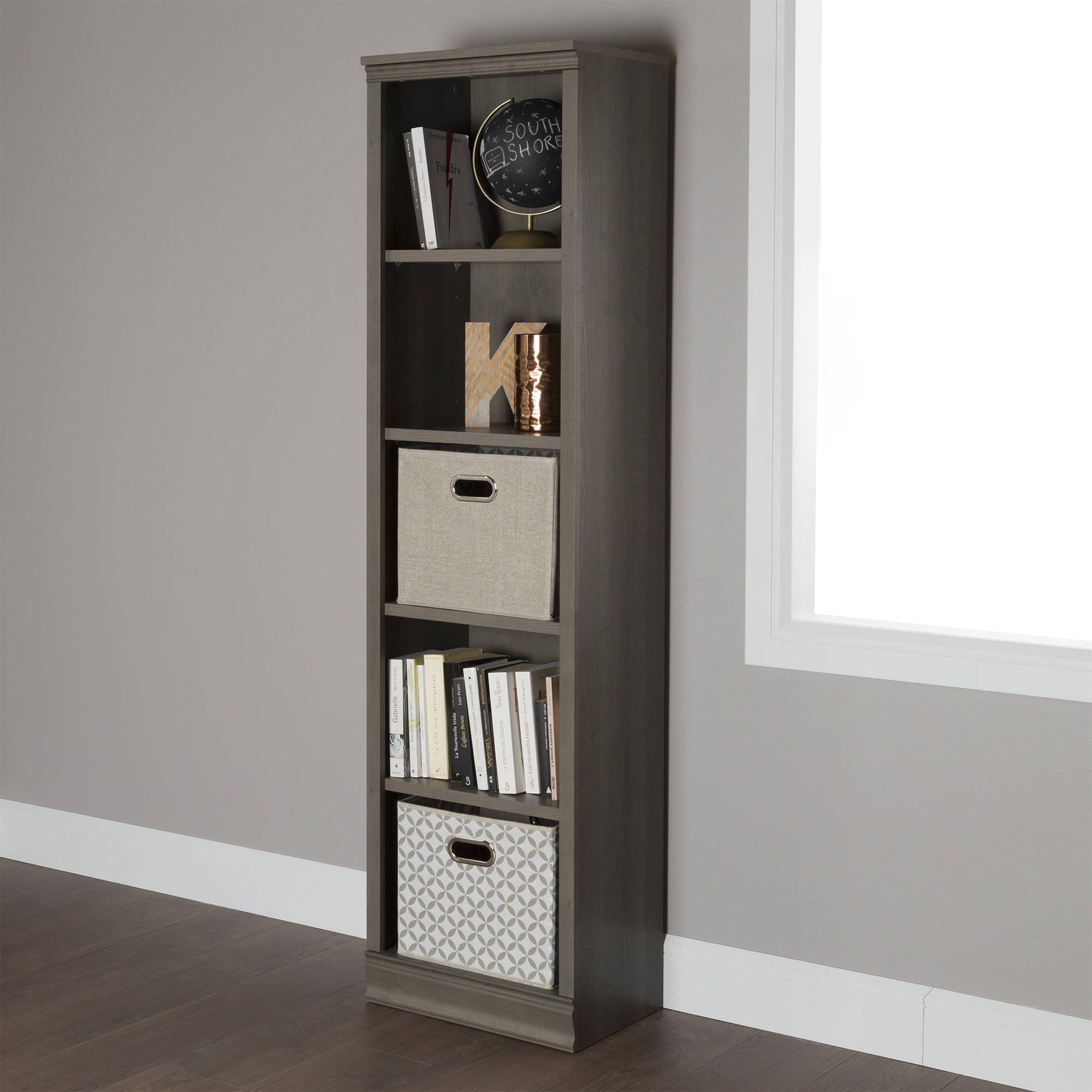 "South Shore Morgan 5-Shelf 71 1/2"" Narrow Bookcase, Multiple Finishes"