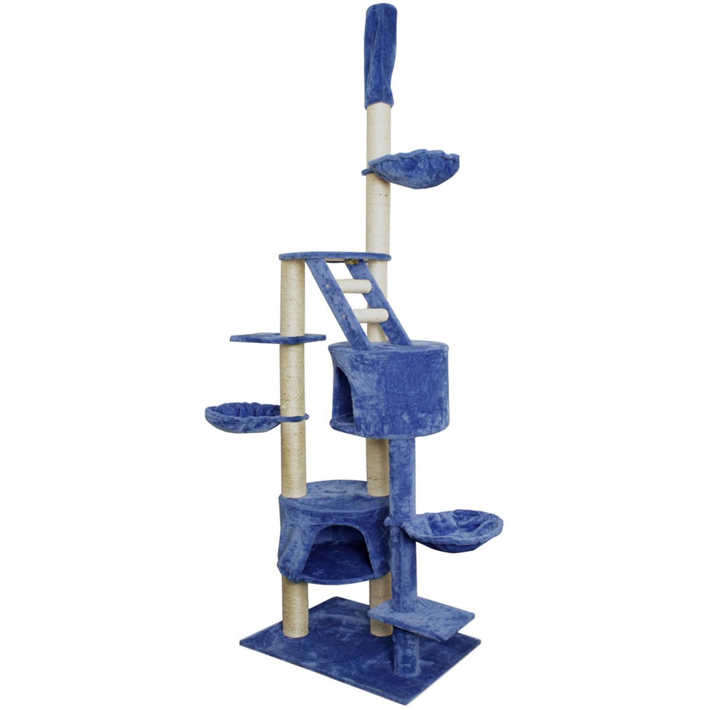 """Premium Cat Tree Tower Condo Scratch Furniture, 101"""", Blue and White"""