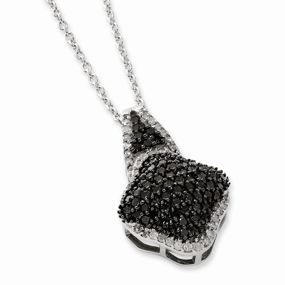 Sterling Silver Black & White Diamond Pendant (1ct)