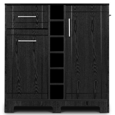 BELLEZE Wood Wine Cabinet with Bottle Holder and Drawer, Black Wrought Iron Wine Cabinets