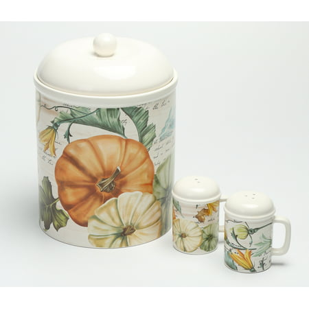 Mainstays™ Earthenware Cookie Jar and Salt & Pepper 3-Piece Set (Cookie Jars Set)