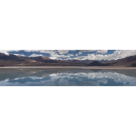 View of salt lake with mountain range in the background Laguna Blanca Potosi Department Bolivia Stretched Canvas - Panoramic Images (27 x