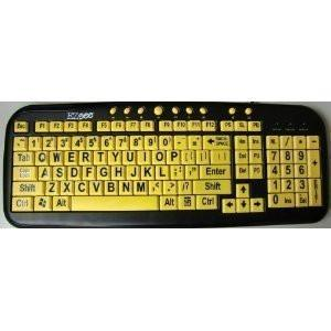 New and Improved EZsee by DC - Large Print English QWERTY Keyboard – Bold Vivid Black Letters on Yellow Background Wired USB Connection