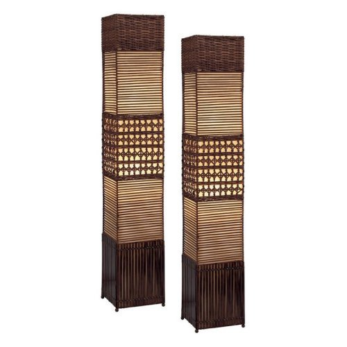 Aspire Home Accents Gretchen Rattan Floor Lamp Set