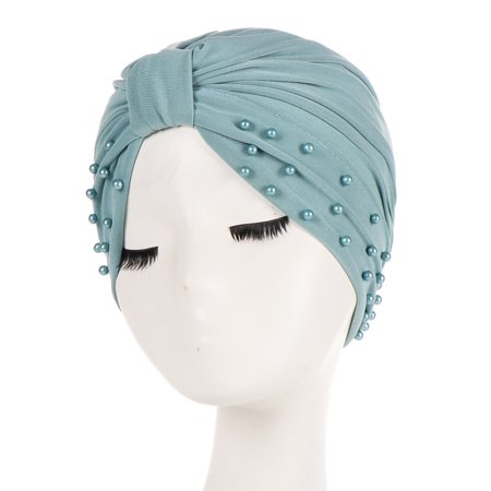 KABOER 1 Pcs Women Muslim Hijab Hat Turban Beads Decor Solid Color Cap Headwear Cancer - Blue Fur Hat