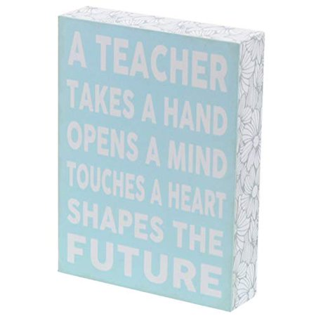 Barnyard Designs A Teacher Takes a Hand Opens A Mind Touches A Heart Box Sign Decorative Wood Sign Decor Teacher Appreciation Gift 8