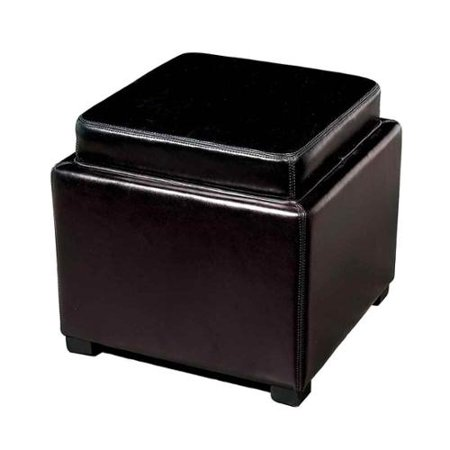 Leather Storage Ottoman with Reversible Tray Top - Leather Storage Ottoman With Reversible Tray Top - Walmart.com