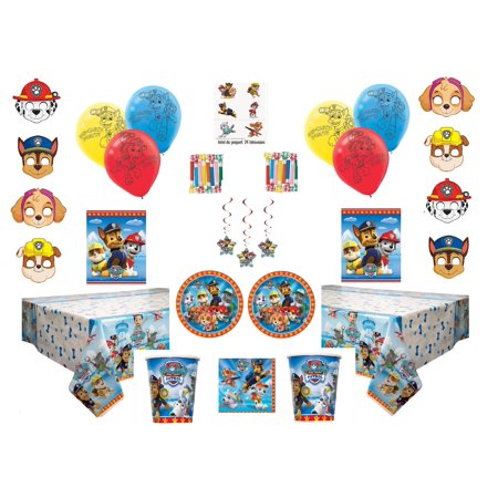 Paw Patrol Deluxe Party for 16 Guests - Includes Plates, Cups, Napkins, Balloons, Masks, Loot Bags, Hanging Swirls, Tattoos, Tablecovers, Blowouts - Decorations Supplies](Patrol Party)