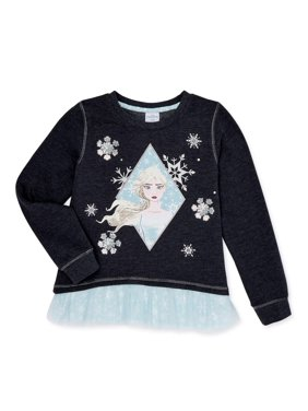 Frozen 2 Girls Elsa or Anna Sweatshirt with Chiffon Hem, Sizes 4-16